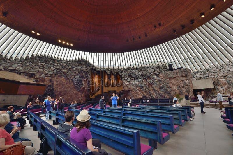 De Rotskerk Helsinki van Temppeliaukiokirkko royalty-vrije stock foto