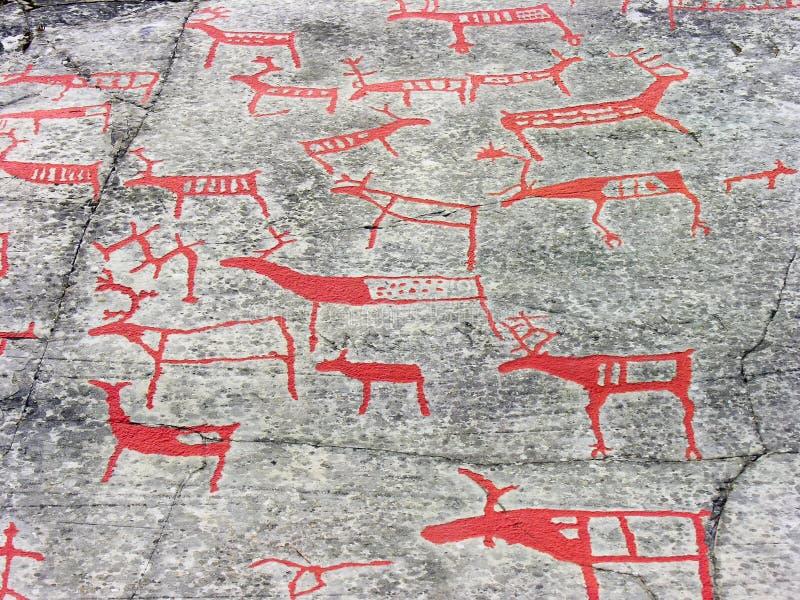 De rotskunst in Alta stock afbeelding