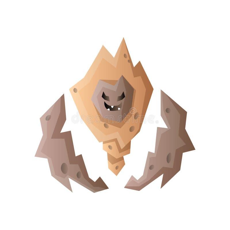 De rotsmonster van de Golemsteen, boze emotiehanden vector illustratie