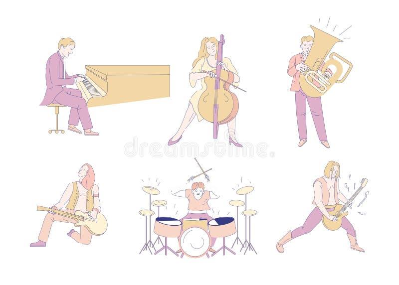 De rotsmusici van het muziekoverleg en orkestspelers geïsoleerde karakters vector illustratie