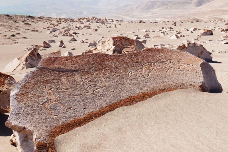 De Rotstekeningen van Peru, Toro Muerto stock afbeelding