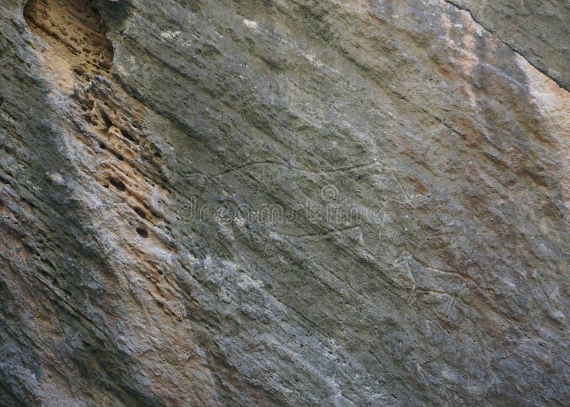 De Rotstekenings Voorhistorische Gravure van de Qobustanos stock afbeeldingen