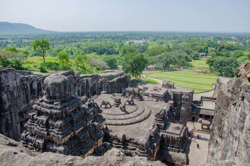 De rotstempel van Kailasanatha Kailash stock afbeeldingen