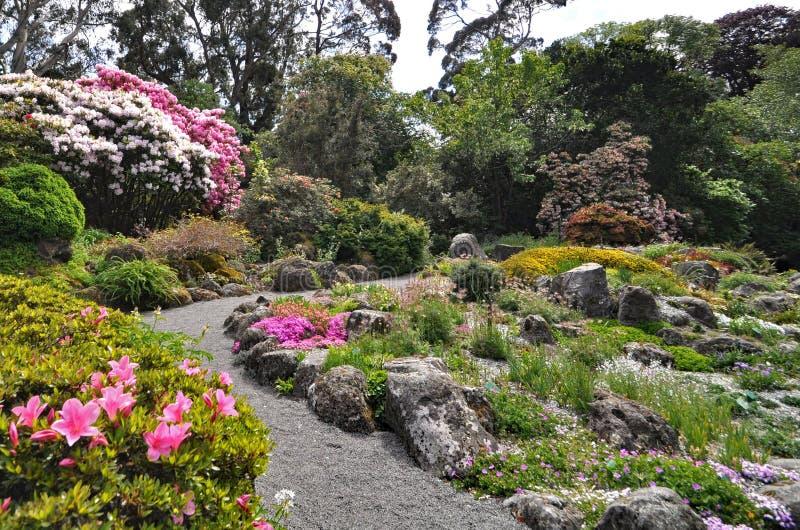 De Rotstuin bij de Botanische Tuinen van Christchurch stock afbeeldingen