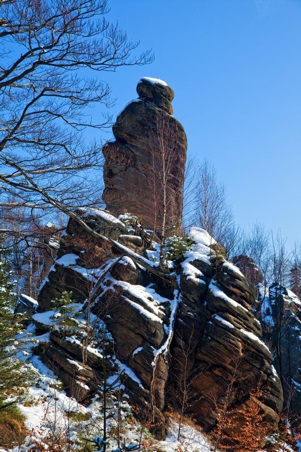De rotsvorming kent als Broumov-muren dichtbij Bromov in Czechia royalty-vrije stock afbeeldingen