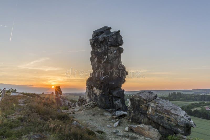 De rotsvorming van de duivelsmuur duitsland stock fotografie