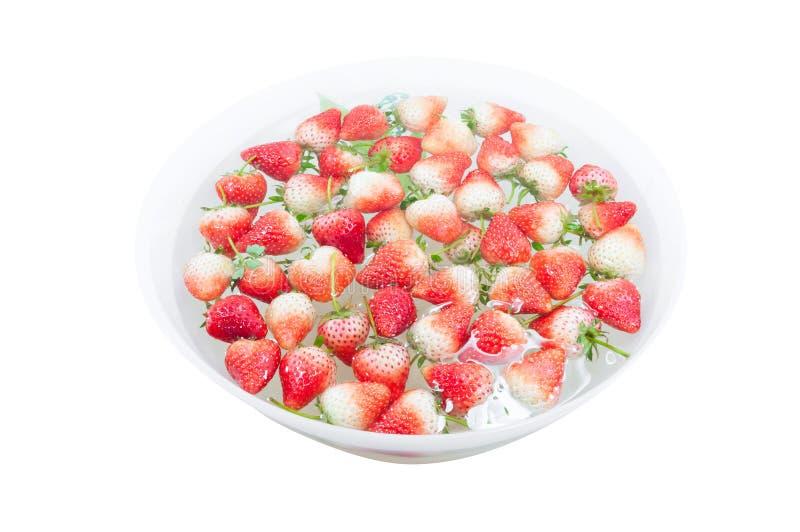 De rouge fraise fraîchement à l'intérieur d'eau froide, plan rapproché doux de fraises de ressort photographie stock libre de droits