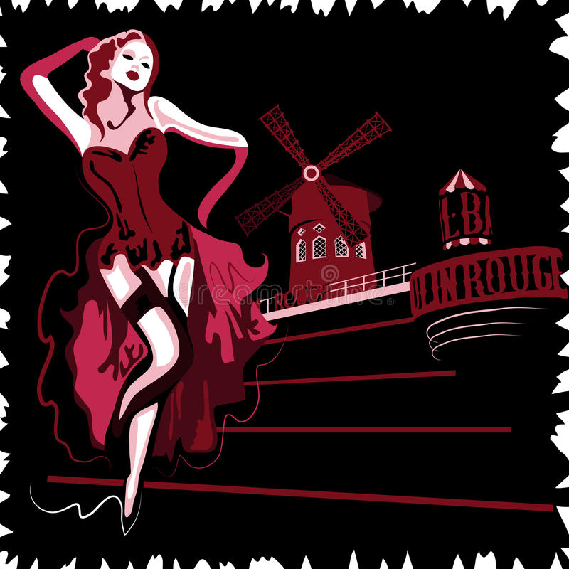 De Rouge van Moulin stock illustratie