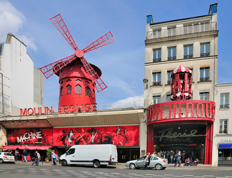 De Rouge van Moulin, Parijs stock fotografie