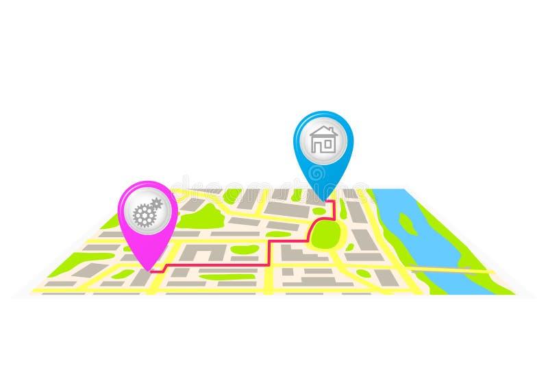 De route op de kaart van de stad stock illustratie