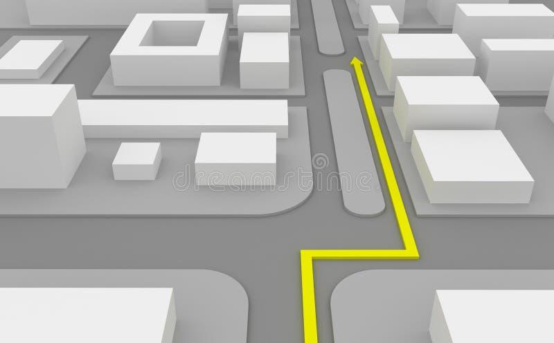 De route van de navigatie op 3d kaart stock illustratie