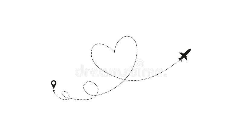De route van het liefdevliegtuig Hart gestormde die van het lijnspoor en vliegtuig routes op witte achtergrond worden ge?soleerd  royalty-vrije illustratie