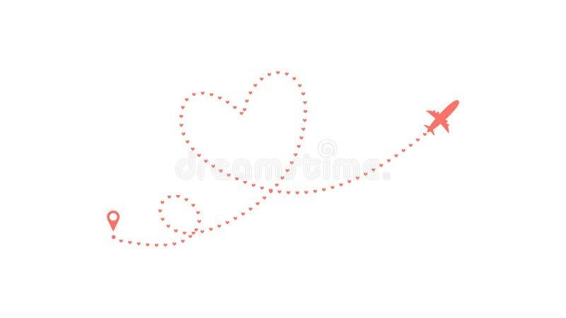 De route van het liefdevliegtuig Hart gestormde die van het lijnspoor en vliegtuig routes op witte achtergrond worden ge?soleerd  stock illustratie