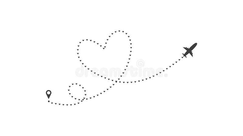 De route van het liefdevliegtuig Hart gestormde die van het lijnspoor en vliegtuig routes op witte achtergrond worden ge?soleerd  vector illustratie
