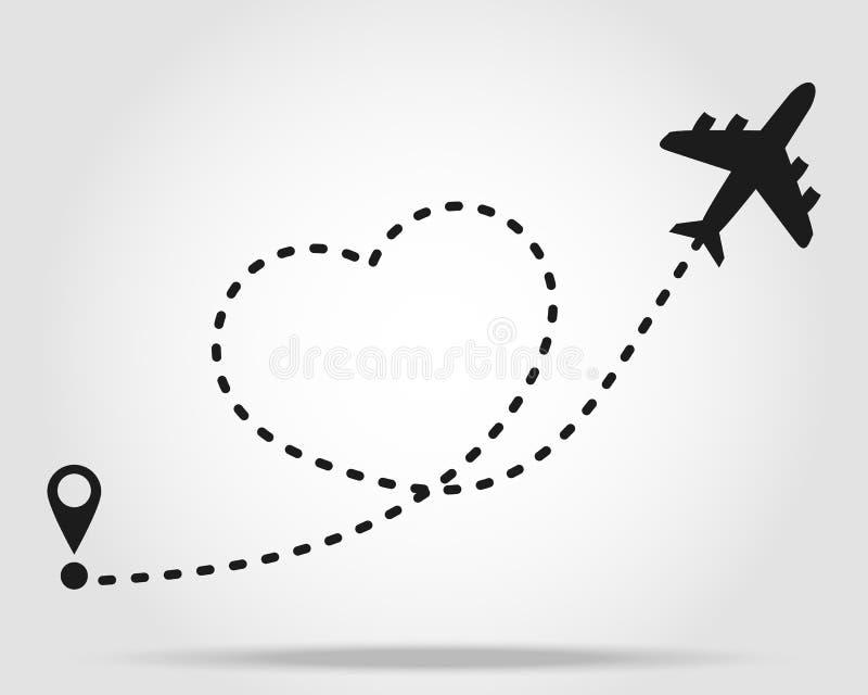 De route van de liefdereis De weg vectorpictogram van de vliegtuiglijn van de vluchtroute van het luchtvliegtuig met beginpunt en royalty-vrije illustratie