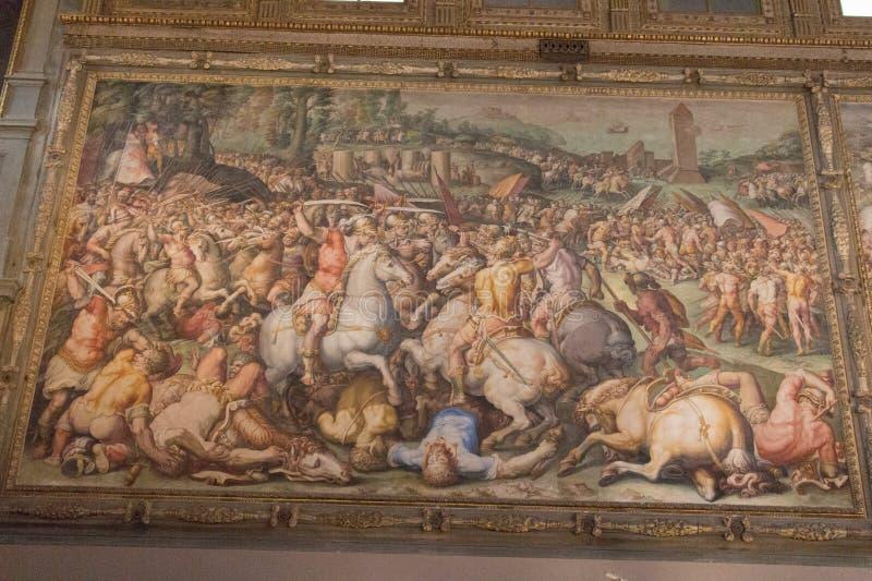 De route van de Pisans in Torre San Vincenzo, fresco door Giorgio Vasari in de middeleeuwse Palazzo Vecchio, Florence, Italië royalty-vrije stock afbeeldingen