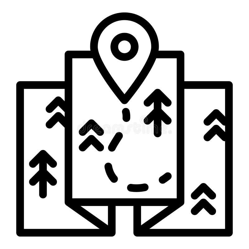 De routepictogram van de reiskaart, overzichtsstijl stock illustratie