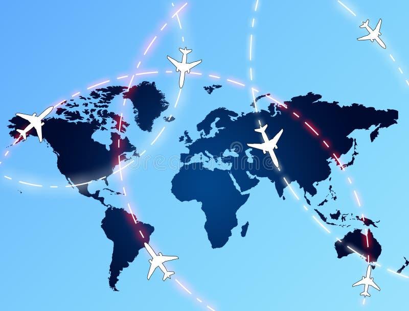 De routes van de luchtvaart stock illustratie