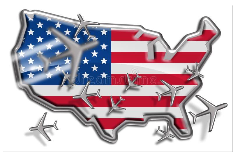 De Routes van de Vlucht van Verenigde Staten stock illustratie