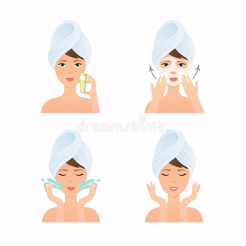 De routine van de gezichtszorg Het meisje heeft een gezichtsmasker en geeft Haar Gezicht stap royalty-vrije illustratie