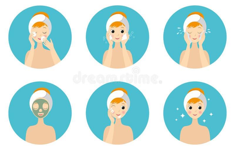 De routine van de gezichtszorg Meisje het Schoonmaken en geeft Haar Gezicht met Diverse Geplaatste Acties stock illustratie