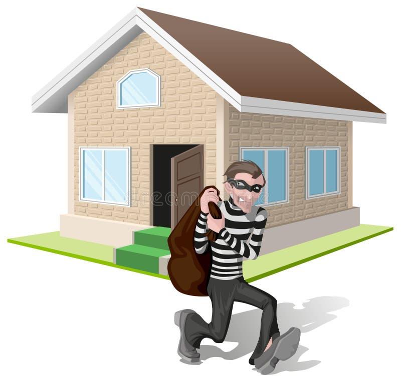 De rover in masker draagt zak Diefrobs huis Bezit insurance vector illustratie