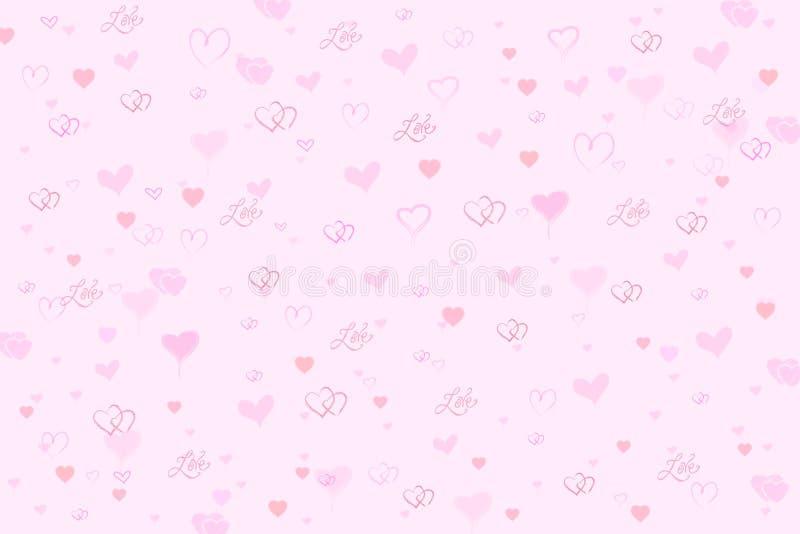 De Roze Achtergrond van de Harten van de valentijnskaart stock illustratie