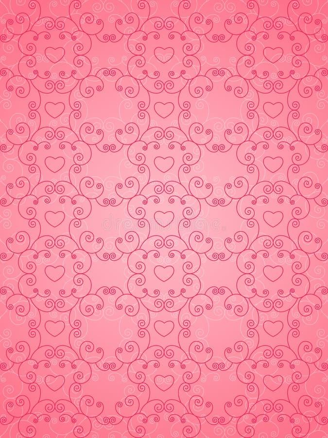 De roze achtergrond van de valentijnskaartendag vector illustratie