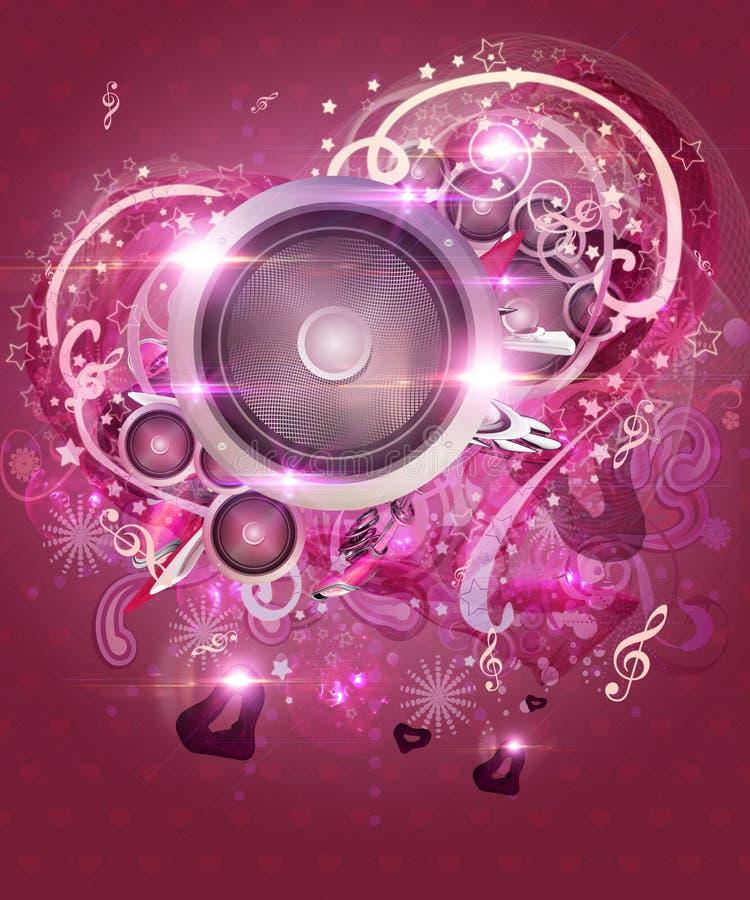 De roze achtergrond van de valentijnskaartmuziek royalty-vrije illustratie