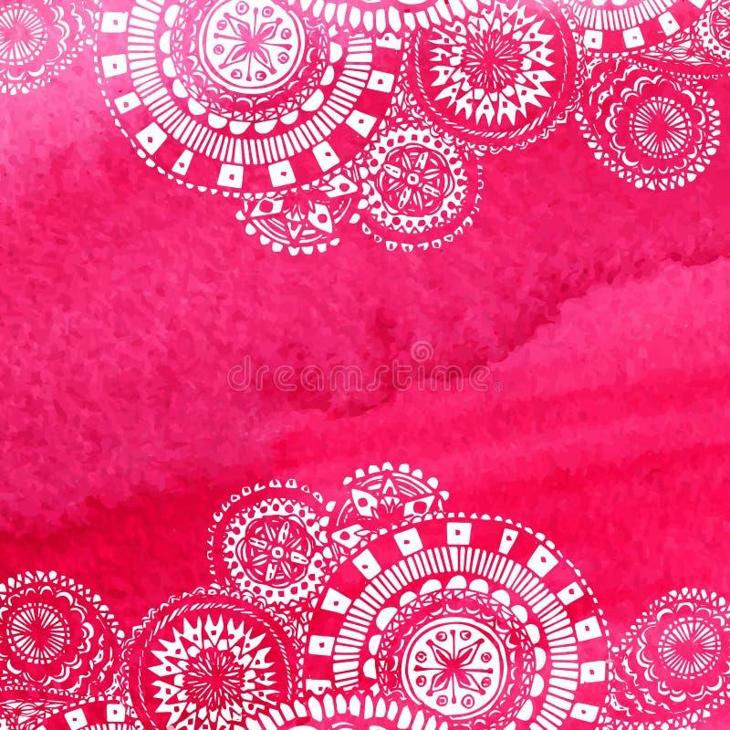 De roze achtergrond van de waterverfverf met witte hand vector illustratie