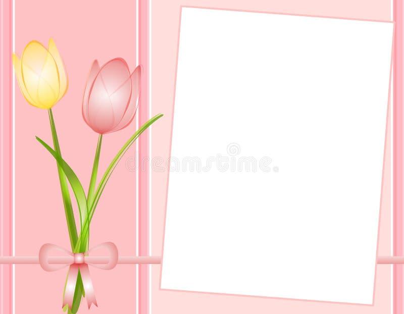 De roze Achtergrond van het Document van de Nota van de Tulpen van de Lente stock illustratie