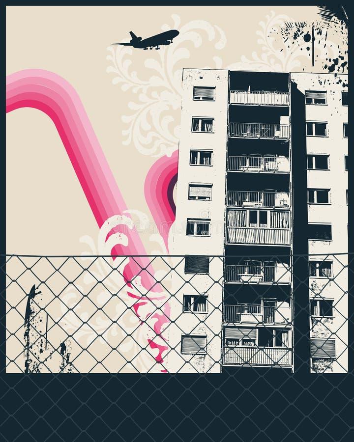 De roze Affiche van de Stad stock illustratie