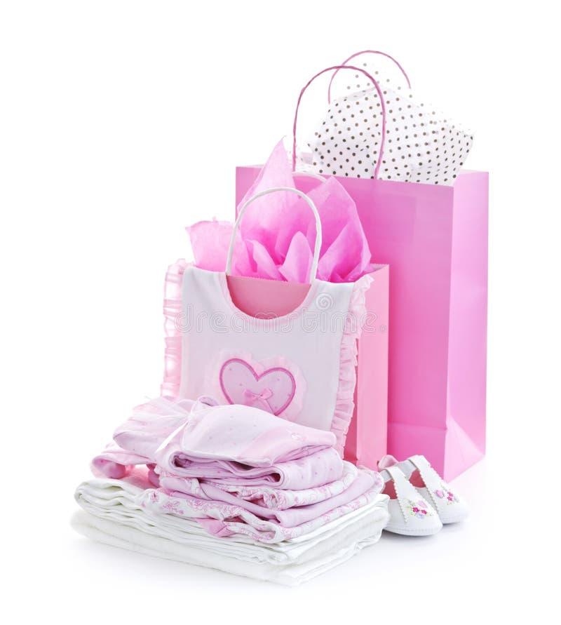De roze babydouche stelt voor stock afbeeldingen