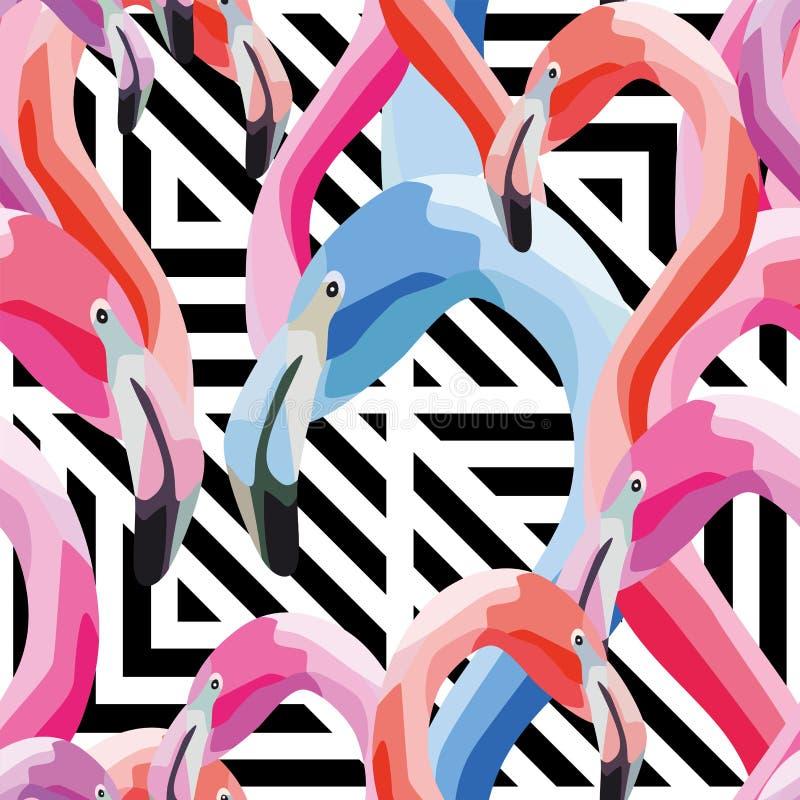 De roze blauwe geometrische achtergrond van het flamingo hoofd naadloze patroon royalty-vrije illustratie