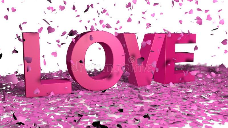 De roze bloemblaadjes met een hart geven het vallen op de woordliefde in gestalte violette kleur op een witte vloer Het concept v stock illustratie