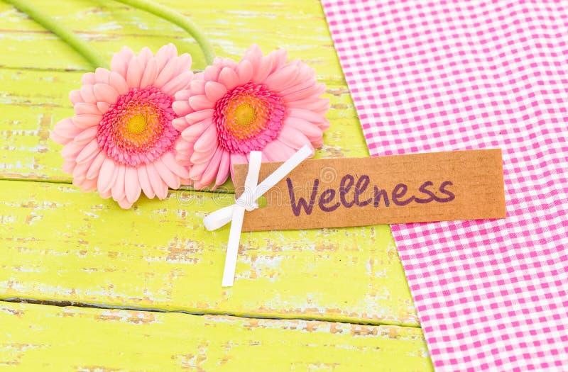 De roze bloemen van het gerberamadeliefje en giftkaart voor Wellness-behandeling, therapie royalty-vrije stock foto