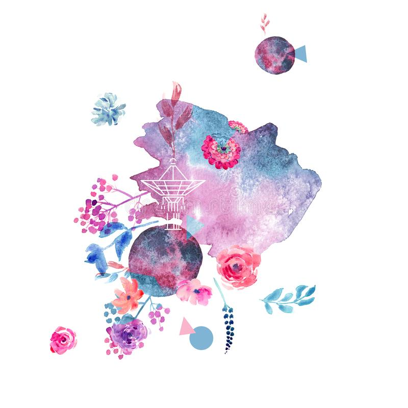 De roze bloemen van de de lentewaterverf met mooie purpere bloemenillustraties stock illustratie