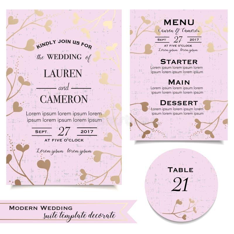De roze BloemenKaart van de Uitnodiging Vastgestelde achtergronden voor huwelijksviering stock illustratie
