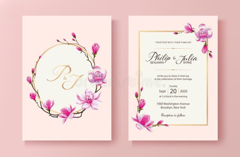 De roze bloemenkaart van de huwelijksuitnodiging Vector Roze bloeiende magnoliabloem stock illustratie