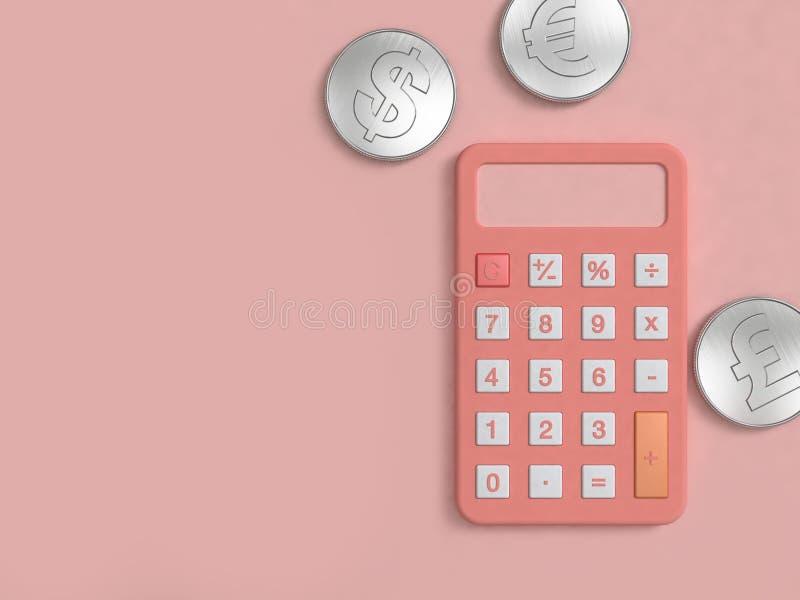 De roze calculator en zilveren muntstuk drie op roze vloer minimale 3d geven terug royalty-vrije illustratie