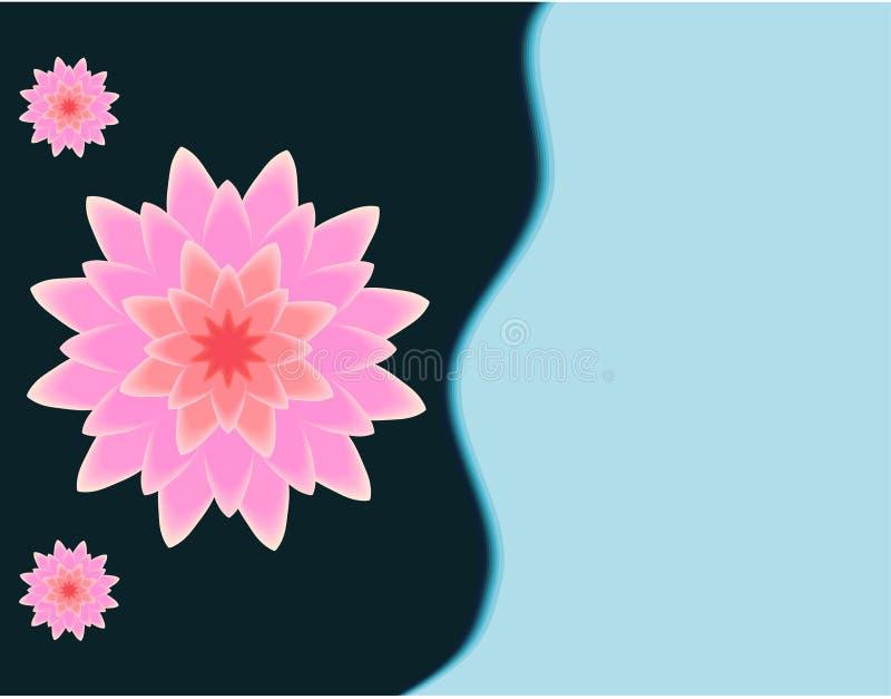 De roze 3D vectorillustratie van de lotusbloembloem op donkere marineblauw aan hemel blauwe achtergrond stock illustratie