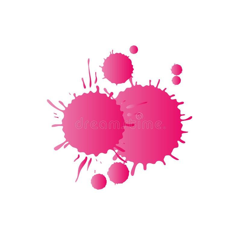 De roze dalingen van de waterverfverf vector illustratie