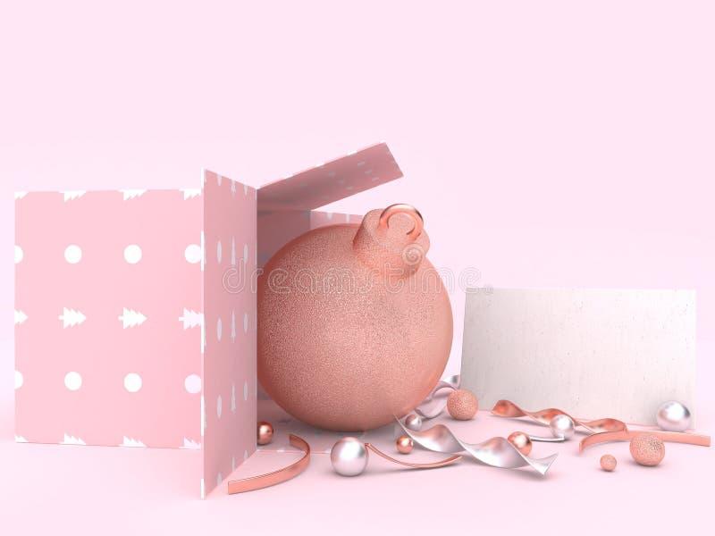 De roze de decoratieconcept van scènekerstmis 3d het teruggeven bal van de giftdoos vector illustratie