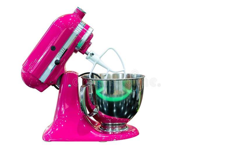De roze die machine van de het voedselmixer van de kleurentribune voor industrieel of huis op witte achtergrond met het knippen v stock afbeelding
