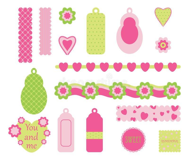 De roze elementen van het plakboek stock illustratie