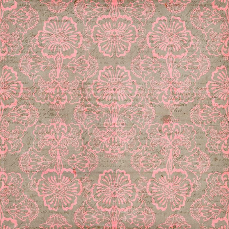 De roze en Bruine Grungy Uitstekende achtergrond van de Bloem royalty-vrije stock fotografie
