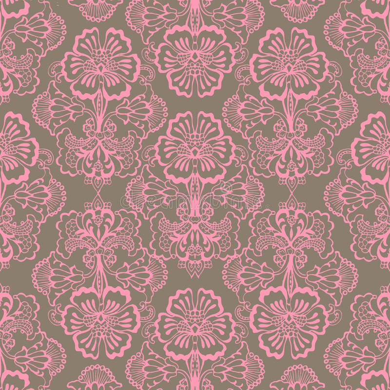 De roze en Bruine Grungy Uitstekende achtergrond van de Bloem vector illustratie