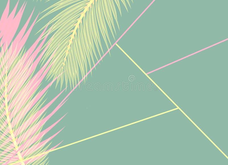 De roze en gele Palmen doorbladert blauw concept als achtergrond stock illustratie