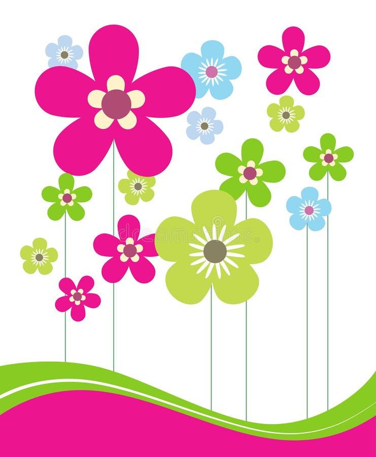 De roze en Groene Bloemen van de Lente royalty-vrije illustratie
