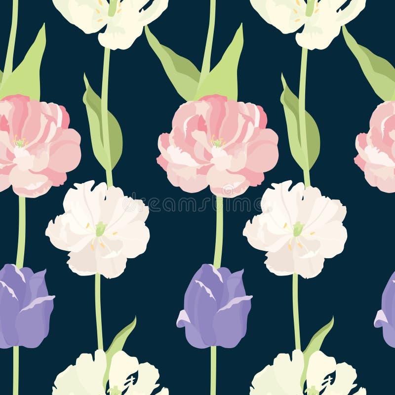De roze en lilac Donkere achtergrond van het tulpen Naadloze patroon stock illustratie